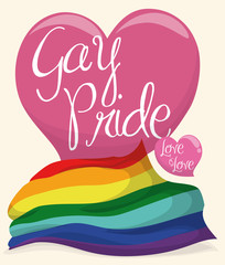Pink Heart with Rainbow Flag to Commemorate Gay Pride, Vector Illustration