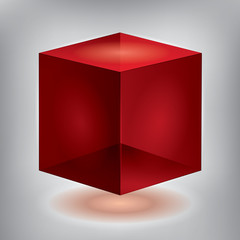 Vector reflection red cube, transparent object, graphic abstraction design