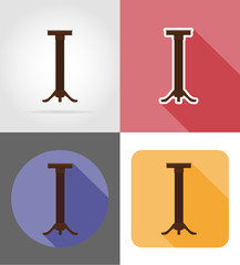 stand for flowerpots furniture set flat icons vector illustratio