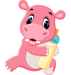 illustration of Cute hippo cartoon