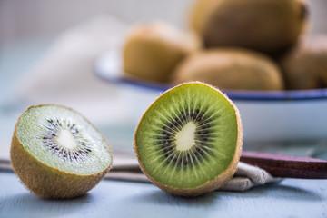 ripe vibrant kiwi fruit cut in half