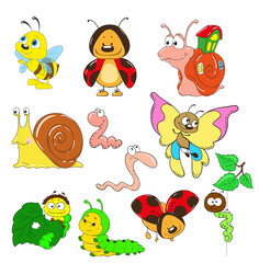 Cartoon collection of characters. Snail, caterpillar, worm, beetle, ladybug, bee.