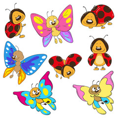 Set butterflies and ladybugs. Cartoon insect vector