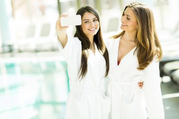 Selfie in spa center