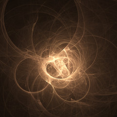 glowing brown curved lines over dark Abstract Background space u