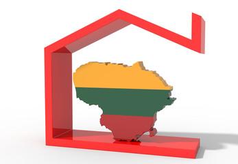 Mappa Lituania 3D con simbolo casa