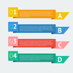 Flat number options banner. Infographics design vector template.