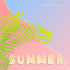 Abstract summer holidays at the beach. Bold text  Summer written in gold on pink and blue background. Palm leaf design in vector illustration. Best used as an invitation, greeting card or poster.