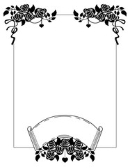 Vertical black and white frame with roses silhouettes. Vector clip art.