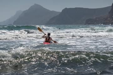 Kayak in Mediterranean. Spain.
