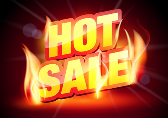 Hot Sale Banner. Sale Offer. Sale and Discounts Background. Sale Text in Flames.