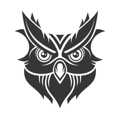 Owl. Hipster Simple Style Logo on White Background. Vector