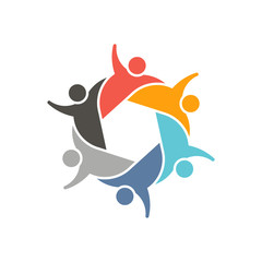 Group of Persons in circle. Teamwork logo