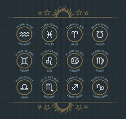 Zodiac icon collection. Sacred symbols set. Vintage style design elements of horoscope and astrology purpose. Thin line signs isolated on dark dotted background. Vector collection.