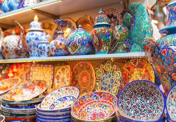 Colorful various ceramics on turkish bazaar.