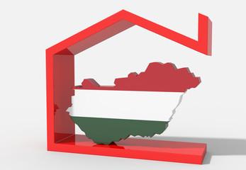 Mappa Ungheria 3D con simbolo casa