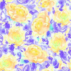 Seamless floral watercolor pattern.