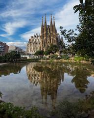 Tuinposter Barcelona BARCELONA, SPAIN - April 2013 10: La Sagrada Familia - the impre