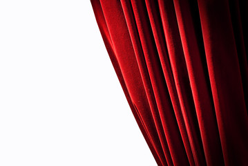 Red curtains on the white background