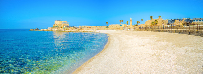 The scenic beach of Caesarea