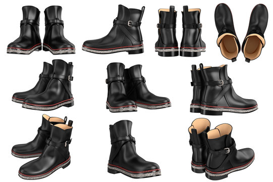 Set leather retro boots with silver chain. 3D graphic