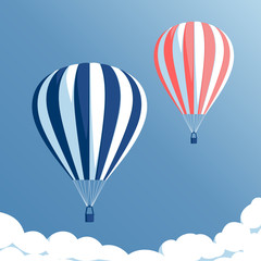 Hot air balloons flying in the blue sky with clouds, hot air balloons set on blue background, vector illustration