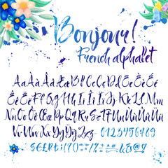 Calligraphic french alphabet with decorations