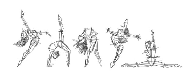 Set silhouettes of woman dancing line art. Dancing woman lineart sketch