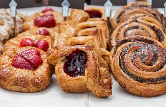 Freshly baked goods in organic bakery
