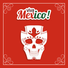 Skull icon. Mexico culture. Vector graphic