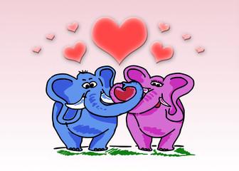 Elefanti innamorati