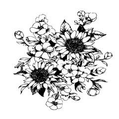 Эскиз татуировки букет - подсолнухи и фиалки