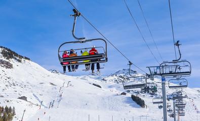 Ski lift.  Ski resort  Val Thorens. Village of Les Menuires. Fra