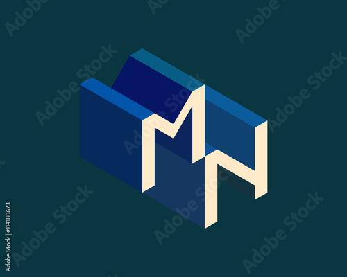 MN Isometric 3D Letter Logo Three Dimensional Stock Vector Alphabet Font Typography Design