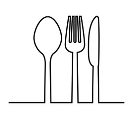 fork, knife and spoon icon. Cutlery and menu. vector graphic