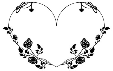 Heart-shaped silhouette frame with roses. Vector clip art.