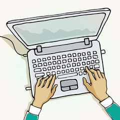 Vector illustration of hand on computer.