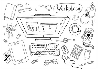Sketchy concept of creative office workspace. Items, stationery, computer, equipment for workplace design. Vector illustration set of business elements top view.