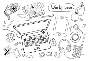 Sketchy concept of creative office workspace. Items, stationery, laptop, equipment for workplace design. Vector illustration set of business elements top view.