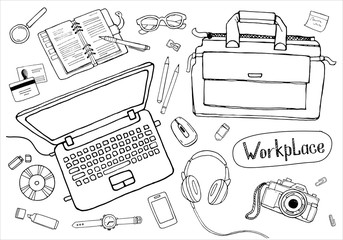 Sketchy concept of creative office workspace. Items, stationery, objects, equipment for workplace design. Vector illustration set of business elements top view.