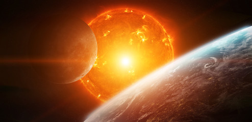 Exploding sun in space close to planet