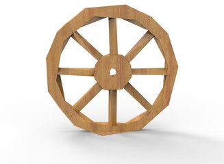 3d illustration of low poly wheel. icon for game web. white background isolated. wooden color