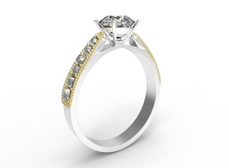3d illustration of simple diamond ring. icon for game web. texture color. white background isolated. simple to use. empty without anybody. wedding and engaging. happy newlyweeds.
