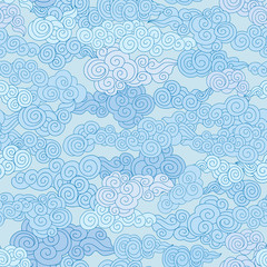 Abstract swirl cloud shapes geometgric tiled pattern in chinese style Sky ornamental  background