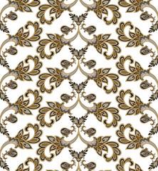 Floral seamless pattern. Flower geometric ornament. Floral oriental texture
