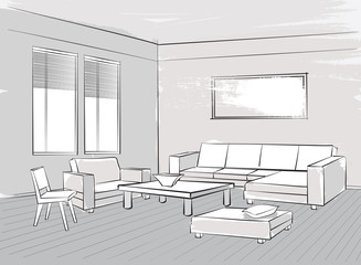 Living room interior sketch Lounge furniture: armchair, chair, seats, table, window