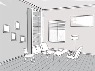 Living room lounge interior sketch Library with armchair Furniture