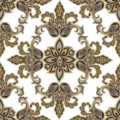 Oriental floral seamless pattern. Flower geometric ornamental ba