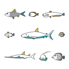 Line design vector fish icon set.