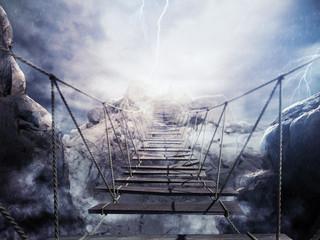 Obraz 3D niestabilny most podczas burzy - fototapety do salonu